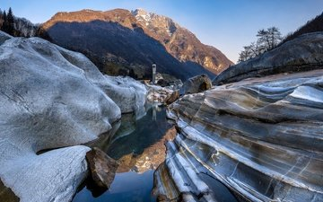 lake, mountains, rocks, switzerland, tower, ticino, lavertezzo
