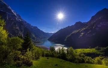 trees, lake, mountains, the sun, switzerland, alps, klontalersee, clientalism lake