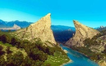 арт, река, горы, пейзаж, замок, ведьмак, the witcher 3, туссент