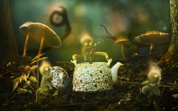 grass, trees, trunks, mushrooms, graphics, men, kettle, bokeh, 3d