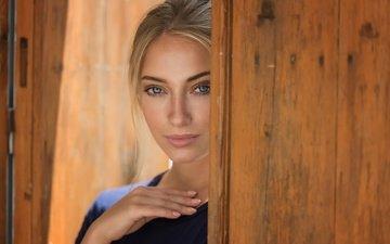 girl, blonde, look, model, hair, face, blue eyes, anna, pink lipstick, mark prinz