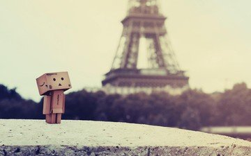 paris, box, eiffel tower, danbo, cardboard robot