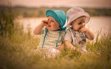 grass, smile, summer, children, child, kids