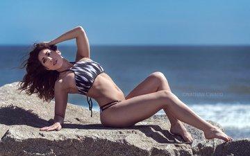 girl, sea, brunette, model, stone, bikini
