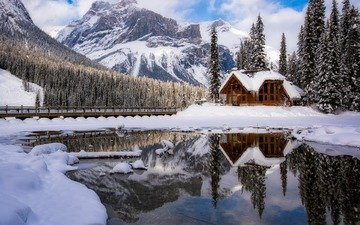 lake, mountains, nature, forest, winter, reflection, bridge, house
