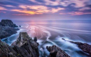 скалы, берег, волны, закат, пейзаж, море, ирландия, alessio andreani, malin head