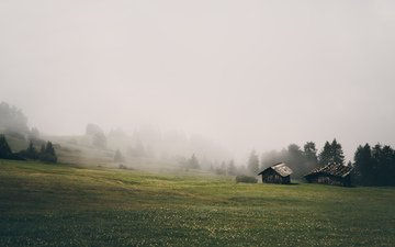mountains, nature, landscape, morning, fog, house, farm