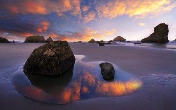 небо, облака, камни, закат, пейзаж, море, пляж
