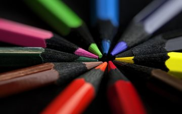 pencils, black background, colored pencils