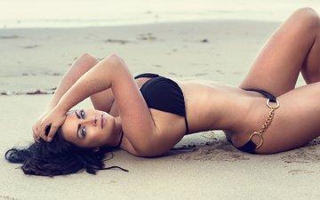 girl, sand, brunette, model