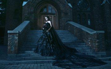 девушка, креатив, церковь, готика, черное платье