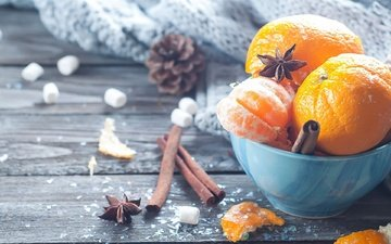 cinnamon, fruit, tangerines, citrus