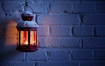 light, winter, wall, lantern