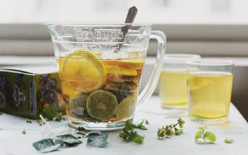 drink, tea, lemons, citrus