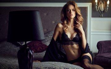 девушка, поза, модель, кровать, шатенка, jaroslav monchak