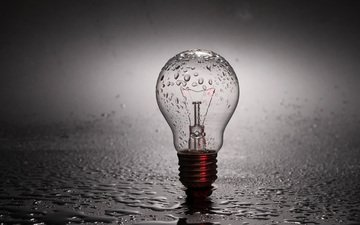 drops, rain, light bulb