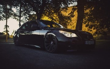 автомобили, бмв, черное авто, bmw 5 series, bmw e60