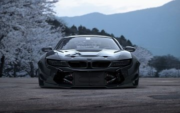flowers, spring, car, tuning, bmw, bmw i8
