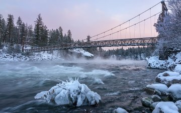river, snow, nature, winter, bridge, ice, suspension bridge