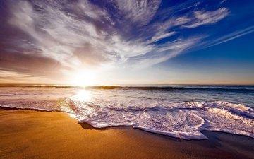 небо, облака, природа, волны, закат, море, песок, пляж, горизонт, пена, калифорния