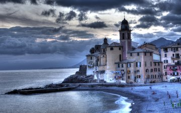 nature, sea, beach, the city, village, pierce, coast, house, italy, camogli