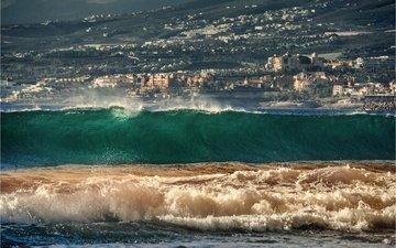 природа, волны, море, пляж, испания, канарские острова, плайя-де-лас-америкас-бич, тенерифе