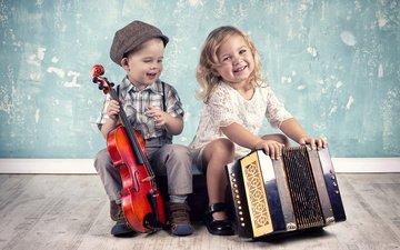 скрипка, дети, девочка, мальчик, смех, аккордеон