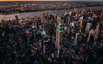 вечер, река, город, сша, нью-йорк, здание, городской пейзаж