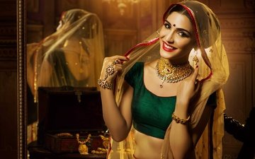 eyes, girl, pose, smile, model, hair, lips, face, makeup, beautiful, jewelry, indian