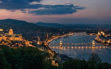 river, panorama, night city, bridges, hungary, budapest, chain bridge, the danube river, buda castle