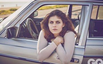 girl, look, hair, face, actress, car, alexandra daddario