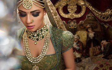 eyes, decoration, girl, dress, model, lips, face, makeup, indian, jewelry