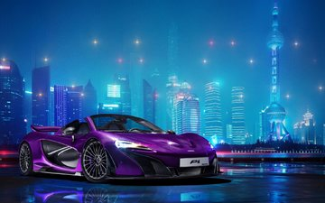 lights, the city, purple, car, mclaren