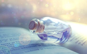 book, bottle, page, elixir