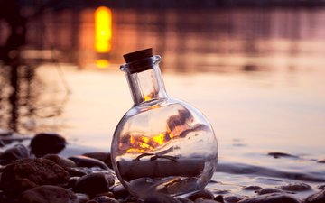 water, stones, glass, bottle