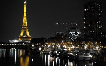 night, lights, river, the city, pierce, tower, paris, building, france, eiffel tower