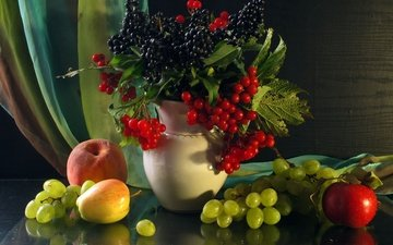 grapes, fruit, apples, bouquet, berries, blueberries, vase, peach, still life, kalina