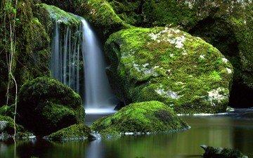 река, природа, камни, водопад, мох, ирландия