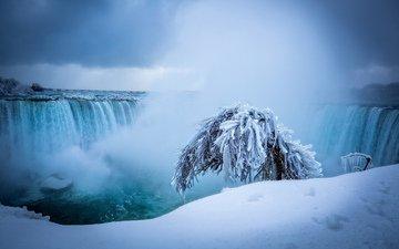 природа, зима, водопад