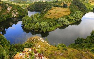 река, природа, пейзаж, кусты