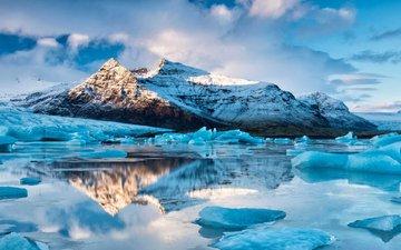 mountains, nature, landscape, sea, ice, arctic
