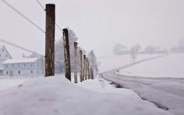 road, snow, winter, macro, the fence