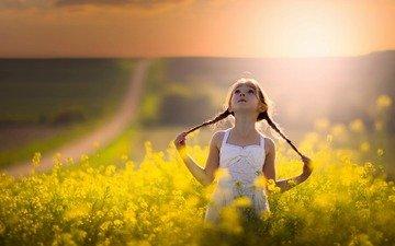 солнце, настроение, поле, лето, девочка, прогулка, косички