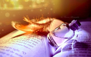 book, bottle, a feather, elixir