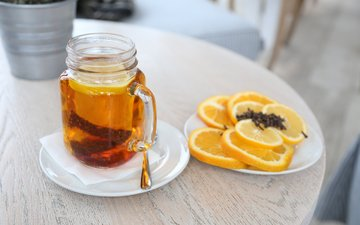 напиток, чай, лимоны