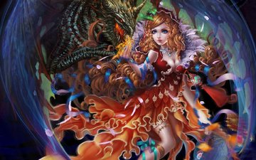 art, girl, dragon, fantasy