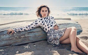 платье, песок, пляж, океан, актриса, эмилия кларк