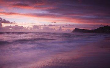 облака, вечер, берег, волны, закат, тучи, море, пляж, гора