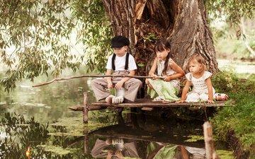 вода, река, отражение, дети, ребенок, мальчик, девочки, рыбалка, удочка