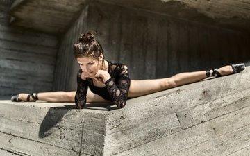 девушка, поза, ножки, шпагат, балерина, пуанты, гибкость